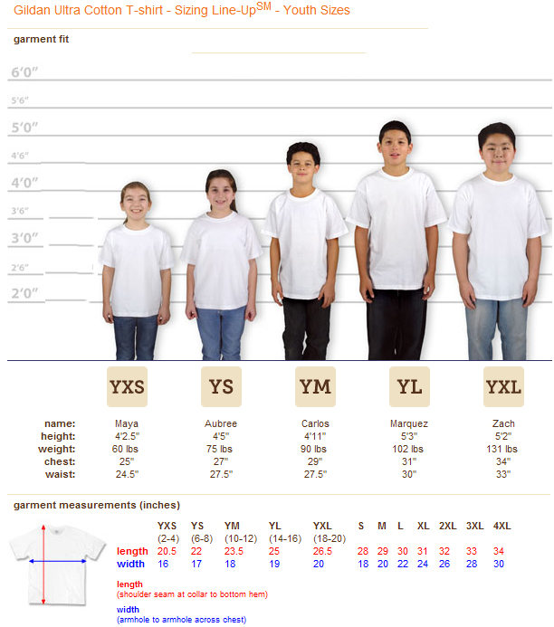 Boys' T-Shirt Size Chart (Youth) There are lots of cool t-shirts out there, just waiting to be put on. But make sure that your boy is wearing the right t-shirt size.